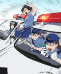 4girls armband artist_name black_eyes black_hair blue_hat breasts brown_eyes brown_hair car clenched_hand collared_shirt crossover driving expressionless glaring gloves ground_vehicle hat indesign kobayakawa_miyuki long_hair medium_breasts meitantei_conan miike_naeko miniskirt miyamoto_yumi motion_lines motor_vehicle multiple_girls open_mouth police police_car police_hat police_uniform shirt short_sleeves shouting skirt small_breasts straight_hair sweatdrop tsujimoto_natsumi tsurime twintails twitter_username uniform walkie-talkie white_gloves you're_under_arrest