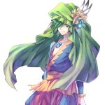 1boy closed_mouth collarbone elazul eye_contact eyebrows_visible_through_hair facing_viewer feathers gem green_eyes green_hair hair_between_eyes hair_over_eyes hair_over_one_eye hat jewelry legend_of_mana looking_at_another looking_at_viewer male_focus seiken_densetsu short_hair simple_background smile solo solo_focus standing tunic white_background yuzucha