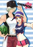 1boy 1girl baseball_cap bikini_shorts black_hat blue_shirt collarbone cowboy_shot dezel_(tales) flower green_eyes hair_over_one_eye hat hibiscus looking_at_viewer midriff navel outstretched_arm pants print_shirt purple_hat red_flower red_pants red_shorts redhead rose_(tales) saklo shirt short_hair short_shorts short_sleeves shorts silver_hair sleeveless sleeveless_shirt standing stomach striped striped_background tales_of_(series) tales_of_zestiria tied_shirt whistle white_shirt wristband