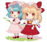 2girls :< :d ascot bangs blonde_hair blue_hair blush bow chibi commentary_request dress eyebrows_visible_through_hair fang flandre_scarlet frilled_shirt_collar frills full_body gotoh510 hand_holding hat hat_bow hat_ribbon holding long_hair looking_at_viewer multiple_girls one_side_up open_mouth pink_dress pink_hat pointy_ears puffy_short_sleeves puffy_sleeves red_bow red_eyes red_footwear red_neckwear red_ribbon red_skirt red_vest remilia_scarlet ribbon shirt shoes short_hair short_sleeves siblings simple_background sisters skirt skirt_set smile socks standing touhou vest white_background white_hat white_legwear white_shirt wrist_cuffs yellow_neckwear
