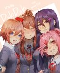 4girls :d blue_eyes blue_nails blush brown_hair closed_eyes commentary commentary_typo copyright_name doki_doki_literature_club facing_viewer fang grey_jacket grin hair_between_eyes hair_ornament hair_ribbon hairclip hand_on_another's_head jacket long_hair looking_at_viewer monika_(doki_doki_literature_club) multiple_girls nail_polish natsuki_(doki_doki_literature_club) odakojirou open_mouth parted_lips pink_eyes pink_hair ponytail purple_hair purple_nails red_ribbon ribbon sayori_(doki_doki_literature_club) self_shot selfie_stick short_hair sidelocks simple_background smile tears two_side_up violet_eyes yuri_(doki_doki_literature_club)