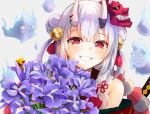 1girl artist_request bangs bell blush bouquet flower grin hair_bell hair_between_eyes hair_bun hair_ornament holding holding_bouquet hololive horns japanese_clothes long_hair looking_at_viewer mask mask_on_head multicolored_hair nakiri_ayame oni oni_horns red_eyes sidelocks silver_hair smile solo streaked_hair upper_body virtual_youtuber