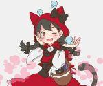 basket bird black_hair braid brown_eyes cat_(battle_cats) cat_tail happy hood minya nyanko_daisensou ribbon sakuragi0127 tail