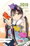 >_< 1girl 2019 =3 alternate_hairstyle animal animal_on_head animalization bang_dream! bangs black_gloves black_hair blue_kimono boar bow bowl bunny_earrings bunny_hair_ornament chinese_zodiac chopsticks commentary_request eating floral_print flower flying_sweatdrops frilled_skirt frills fur_collar gloves green_eyes hair_flower hair_ornament hanazono_tae holding holding_bowl ichigaya_arisa japanese_clothes jitome kanzashi kimono kotoyoro long_hair new_year on_head polka_dot polka_dot_bow poppin'party signature skirt solo sparkle star striped striped_bow sweatdrop toto_nemigi toyama_kasumi twintails ushigome_rimi wide_sleeves yamabuki_saaya year_of_the_pig zouni_soup