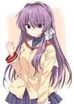 1girl bangs blue_skirt blush breasts buttons clannad clenched_hand closed_mouth commentary_request fujibayashi_kyou hair_between_eyes hair_intakes hair_over_one_eye hair_ribbon hand_up highres hikarizaka_private_high_school_uniform long_hair long_sleeves looking_at_viewer matsuda_hikari medium_breasts miniskirt pleated_skirt purple_hair ribbon sailor_collar school_uniform shirt sidelocks skirt solo standing upper_body violet_eyes white_ribbon white_sailor_collar yellow_shirt