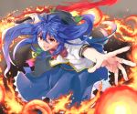 1girl alternate_weapon bending_forward blue_hair bow dress fang fire food foreshortening frilled_skirt frills fruit furrowed_eyebrows gradient gradient_background grin gunblade hat hat_loss highres hinanawi_tenshi holding holding_weapon layered_dress long_hair long_skirt looking_at_viewer mumyuu open_hand outstretched_hand peach puffy_short_sleeves puffy_sleeves red_eyes red_neckwear reverse_grip short_sleeves skirt smile smoke solo standing teeth thick_eyebrows touhou very_long_hair weapon