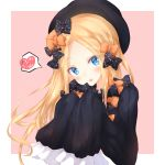 1girl abigail_williams_(fate/grand_order) bangs black_bow black_dress black_hat blonde_hair blue_eyes blush bow dress eyebrows_visible_through_hair fate/grand_order fate_(series) forehead hair_bow hands_up hat head_tilt heart highres long_hair long_sleeves numpopo open_mouth orange_bow parted_bangs pink_background polka_dot polka_dot_bow round_teeth sleeves_past_fingers sleeves_past_wrists solo spoken_heart teeth two-tone_background upper_body upper_teeth very_long_hair white_background
