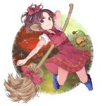 1girl back bare_arms bare_legs blue_eyes bow broom colored_eyelashes curly_hair dutch_angle elf eyelashes facing_viewer forehead from_behind full_body gnome_(seiken_densetsu) hair_ribbon highres holding holding_broom hood hood_down kneepits legend_of_mana lisa_(lom) long_legs looking_at_viewer looking_back pointy_ears pumpkin purple_bow purple_hair ribbon seiken_densetsu simple_background sketch smile solo standing tsubakimura violet_eyes white_background widow's_peak