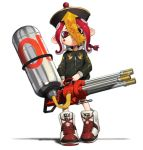 1girl absurdres animal_print bird_print black_hat black_jacket closed_mouth frown full_body glint hat highres holding hydra_splatling_(splatoon) jacket legs_apart long_hair long_sleeves octarian octoling ofuda red_eyes redhead shadow shibainu shoes simple_background solo sparkle splatoon splatoon_(series) splatoon_2 standing suction_cups tentacle_hair white_background zipper zipper_pull_tab