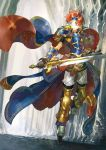1boy armor blue_eyes breastplate cape cloak fire_emblem fire_emblem:_fuuin_no_tsurugi fire_emblem_heroes gloves headband holding holding_sword holding_weapon nintendo noki_(affabile) pauldrons redhead roy_(fire_emblem) smile solo sword weapon