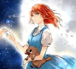 1girl arukas blue_dress copyright_name dress full_moon green_eyes hands holding holding_stuffed_animal medium_hair moon night night_sky redhead river_wyles short_sleeves sky smile solo_focus standing star_(sky) starry_sky stuffed_animal stuffed_toy to_the_moon
