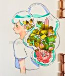 1girl artist_name bangs cropped_torso flower green_eyes highres leaf liquid long_hair looking_at_viewer meyoco original photo pink_flower ponytail profile shirt short_sleeves solo traditional_media upper_body white_shirt