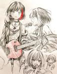 /\/\/\ 1girl :d bang_dream! bangs blush bob_cut breath chain_necklace choker electric_guitar guitar haru_hina highres holding holding_microphone hood hood_down hooded_jacket instrument jacket jewelry long_sleeves microphone mitake_ran multicolored_hair multiple_views music o_o off_shoulder open_mouth paint_stains pants pendant playing_instrument redhead short_hair shoulder_tattoo smile spot_color streaked_hair sweat sweatdrop tattoo traditional_media v-shaped_eyebrows
