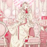 1girl balloon cake candle chair clock cup dress drill_hair drinking_glass english_text food indoors jar kngegt macaron on_table original pink_eyes pink_footwear pink_theme plant plate potted_plant slice_of_cake solo spill striped table wallpaper_(object) white_dress white_hair wine_glass