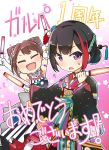 2girls :d ? anniversary armlet arms_up bang_dream! black_hair black_kimono blue_flower bow brown_hair closed_eyes commentary_request elbow_gloves floral_print flower gloves glowstick hair_bow hair_bun hair_flower hair_ornament hair_stick holding japanese_clothes kimono looking_at_viewer mitake_ran multicolored_hair multiple_girls open_mouth red_flower redhead short_hair smile star streaked_hair striped striped_bow toto_nemigi toyama_kasumi translation_request v-shaped_eyebrows violet_eyes white_flower white_gloves
