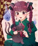 1girl :3 ahoge animal animal_ears animal_on_lap arms_up bangs braid cameo cat_earrings cat_ears commentary curtains dress dual_persona extra_ears eyebrows_visible_through_hair fang fingernails flaming_skull green_dress hair_ribbon juliet_sleeves kaenbyou_rin kaenbyou_rin_(cat) long_hair long_sleeves looking_down maruta_(shummylass) nail_polish neck_ribbon open_mouth petting pointy_ears puffy_sleeves red_eyes red_nails redhead ribbon sharp_fingernails sitting thick_eyebrows touhou tress_ribbon twin_braids wallpaper_(object)