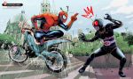 2boys anger_vein battle_hopper building church crossover kamen_rider kamen_rider_black kamen_rider_black_(series) kikomauriz lamppost looking_at_another marvel multiple_boys salute silk source_request spider-man spider-man_(series) spider_web spider_web_print squatting superhero twig watermark web_address