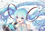 1girl :d absurdres aqua_hair aqua_neckwear bangs bare_shoulders black_sleeves blue_eyes blue_hair blush character_name collared_shirt commentary_request detached_sleeves eyebrows_visible_through_hair grey_background grey_shirt hair_between_eyes hair_ornament hand_up hatsune_miku headset highres long_hair long_sleeves looking_at_viewer necktie open_mouth shirt sidelocks sleeveless sleeveless_shirt smile solo twintails upper_body very_long_hair vocaloid wang_man wide_sleeves