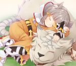 1girl animal_ear_fluff animal_ears artist_request bangs belt blunt_bangs bodysuit byakko_(xenoblade) cat_ears closed_eyes grass nintendo niyah no_gloves ribbon silver_hair sleeping smile tiger white_fur xenoblade_(series) xenoblade_2 yellow_bodysuit yellow_ribbon