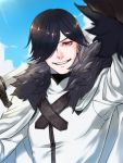 1boy black_hair blue_sky cape fur_trim hair_over_one_eye hand_up highres itto_(m2f_slide) long_sleeves male_focus oscar_the_frozen_sea_admiral outdoors over_shoulder pixiv_fantasia_last_saga red_eyes sky smile solo standing sword upper_body weapon