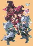 4girls aori_(splatoon) armor beige_background dark_skin green_eyes green_hair helmet highres hime_(splatoon) hotaru_(splatoon) iida_(splatoon) knight lance magic multicolored_hair multiple_girls pink_eyes pink_hair pointy_ears polearm scabbard sheath simple_background smile splatoon splatoon_(series) splatoon_1 splatoon_2 standing sword tentacle_hair two-tone_hair weapon witch wong_ying_chee