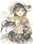 1girl :d bag bangs blue_hair bouquet bow brown_eyes character_name dated earrings floral_print flower frilled_skirt frills hair_ornament hairpin hand_on_headwear handbag happy_birthday haru_hina hat hat_bow hat_flower holding holding_bouquet jacket jewelry layered_skirt long_hair looking_at_viewer love_live! love_live!_school_idol_festival love_live!_school_idol_project necklace open_mouth petals signature skirt smile solo sonoda_umi sun_hat white_bow