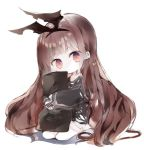1girl black_hairband black_ribbon black_shirt brown_eyes brown_hair chibi closed_mouth full_body hair_ribbon hairband head_tilt kotatu_(akaki01aoki00) long_hair long_sleeves original pillow pillow_hug ribbon seiza shirt sitting sleeves_past_wrists solo torn_ribbon very_long_hair white_background