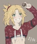 1girl alternate_costume black_bra blonde_hair blush bra braid breasts collarbone dated eyebrows_visible_through_hair fate/grand_order fate_(series) green_eyes grey_background hair_ornament hair_scrunchie heart highres holding long_hair long_sleeves mordred_(fate) mordred_(fate)_(all) ponytail red_scrunchie scrunchie simple_background small_breasts smile solo teeth tonee underwear