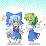 0_0 2girls :o bangs barefoot blue_bow blue_dress blue_eyes blue_hair blue_skirt blue_vest blush_stickers bow chibi chima_q cirno commentary_request daiyousei dress eyebrows_visible_through_hair fairy_wings flower flying_sweatdrops food from_side full_body hair_between_eyes hair_bow halftone halftone_background hands_on_hips hands_up ice ice_wings jitome leaf looking_at_another mouth_hold multiple_girls neck_ribbon one_side_up parted_lips pinafore_dress plant popsicle profile puffy_short_sleeves puffy_sleeves purple_flower red_neckwear red_ribbon ribbon shadow shirt short_hair short_sleeves skirt skirt_set smile standing sunflower tanned_cirno touhou vest vines white_background white_shirt wings yellow_bow