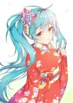 1girl :3 aqua_eyes aqua_hair closed_mouth commentary_request floating_hair floral_print flower gradient gradient_background hair_flower hair_ornament hatsune_miku japanese_clothes kimono long_hair obi petals red_kimono red_ribbon revision ribbon sash solo tp_(kido_94) twintails very_long_hair vocaloid