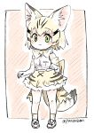 1girl :< animal_ear_fluff animal_ears bare_shoulders blonde_hair blush bow bowtie cat_ears cat_tail commentary_request elbow_gloves extra_ears eyebrows_visible_through_hair full_body gloves green_eyes high-waist_skirt highres kemono_friends looking_at_viewer panzuban paw_pose print_gloves print_legwear print_neckwear print_skirt sand_cat_(kemono_friends) sand_cat_print shirt short_hair skirt sleeveless sleeveless_shirt socks solo tail white_shirt