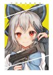 1girl black_bow blue_bow blue_stripes blush bow brooch character_name cyg38801 elbow_gloves girls_frontline gloves grey_hair gun hair_bow hand_on_own_face handgun highres holding holding_gun holding_weapon jewelry long_hair looking_at_viewer partly_fingerless_gloves pistol red_eyes short_sleeves smile solo striped tokarev_(girls_frontline) tokarev_tt-33 trigger_discipline upper_body vertical-striped_gloves vertical_stripes very_long_hair weapon wide-eyed yellow_background