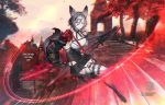 1girl animal_ears artist_name aym black_gloves black_neckwear black_skirt blurry blurry_background boots breasts copyright_name dated day detached_collar dual_wielding ekurerutoaru elbow_gloves garter_straps gloves grey_eyes grey_hair hair_between_eyes holding large_breasts looking_at_viewer motion_blur outdoors paws pixiv_fantasia_last_saga sheath short_hair shoulder_armor skirt slashing solo stairs tail thigh-highs thigh_boots watermark white_footwear wolf_ears wolf_tail
