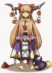 alternate_hair_ornament bangs barefoot bow chains commentary_request eyebrows_visible_through_hair food fruit gourd grin highres horn horn_ribbon horns ibuki_suika long_hair looking_at_viewer michihasu necktie oni orange_hair persimmon red_eyes red_neckwear ribbon sharp_teeth shirt sidelocks simple_background sleeveless sleeveless_shirt smile teeth touhou very_long_hair white_background wrist_cuffs