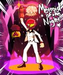1girl afro commission disco_ball formal helmet metroid metroid_(creature) nintendo samus_aran saturday_night_fever setz sparkle spotlight suit white_suit