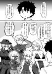 2boys 4girls artoria_pendragon_(all) artoria_pendragon_(lancer) artoria_pendragon_(lancer_alter) bodysuit comic cosplay crossed_arms fedora fujimaru_ritsuka_(male) greyscale hat highres hood kanno_takanori monochrome multiple_boys multiple_girls peni_parker peni_parker_(cosplay) saber_alter saber_lily skin_tight speech_bubble spider-gwen spider-gwen_(cosplay) spider-ham spider-ham_(cosplay) spider-man spider-man:_into_the_spider-verse spider-man_(cosplay) spider-man_(series) spider-man_noir spider-man_noir_(cosplay) trench_coat