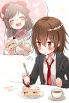 2girls blazer brown_eyes brown_hair cake chestnut_mouth coffee_mug cup dated food fork hair_bobbles hair_ornament hairclip imagining jacket kantai_collection kappougi koruri long_hair mamiya_(kantai_collection) mug multiple_girls necktie open_mouth red_neckwear round_teeth short_hair smile strawberry_shortcake table teacup teeth twitter_username upper_body upper_teeth wakaba_(kantai_collection)
