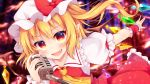 1girl :d absurdres ascot bangs blonde_hair blush bow commentary_request crystal eyebrows_visible_through_hair fang flandre_scarlet frilled_shirt_collar frills hand_up hat hat_bow highres holding holding_microphone light_particles long_hair looking_at_viewer microphone miy@ mob_cap one_side_up open_mouth petticoat puffy_short_sleeves puffy_sleeves red_bow red_eyes red_skirt red_vest shirt short_sleeves skirt skirt_set smile solo touhou vest white_hat white_shirt wings wrist_cuffs yellow_neckwear