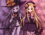 2girls abigail_williams_(fate/grand_order) bangs black_bow black_dress black_gloves black_hat black_panties blonde_hair bloomers blue_eyes bow bug butterfly character_name closed_mouth commentary_request dress dual_persona elbow_gloves fate/grand_order fate_(series) forehead gloves grey_hair groin hair_bow hat head_tilt holding holding_key insect key keyhole long_hair long_sleeves looking_at_viewer multiple_girls navel object_hug orange_bow oversized_object pale_skin panties parted_bangs polka_dot polka_dot_bow red_eyes revealing_clothes sleeves_past_fingers sleeves_past_wrists star stuffed_animal stuffed_toy suction_cups teddy_bear tentacle underwear very_long_hair white_bloomers yo-cchi