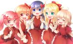 5girls :d absurdres ahoge bangs blonde_hair blue_eyes blue_hair blush bow brown_bow closed_eyes commentary_request dress elbow_gloves eyebrows_visible_through_hair fang flower frilled_dress frills gloves green_eyes hair_between_eyes hair_bow hair_flower hair_ornament hand_holding happy_happy_friends high_ponytail highres himesaka_noa hoshino_hinata interlocked_fingers konomori_kanon light_brown_hair long_hair multiple_girls netamaru open_mouth pink_hair puffy_short_sleeves puffy_sleeves red_bow red_dress red_eyes red_flower shirosaki_hana short_sleeves simple_background sleeveless sleeveless_dress smile tanemura_koyori twintails very_long_hair watashi_ni_tenshi_ga_maiorita! white_background white_gloves