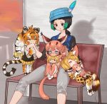 4girls :< =3 ^_^ animal_ear_fluff animal_ears animal_print bench biting black_eyes black_hair black_shirt black_vest blonde_hair blue_eyes blue_vest blush bow caracal_(kemono_friends) caracal_ears caracal_tail character_doll chibi closed_eyes closed_eyes collarbone commentary_request doll_hug ear_blush elbow_gloves extra_ears fang gloves gradient_hair green_eyes green_hair grey_pants hair_bow hat hat_feather highres kemono_friends kyururu_(kemono_friends) long_hair long_sleeves low_ponytail minigirl multicolored_hair multiple_girls nose_blush notora older orange_hair pants paws pleated_skirt print_gloves print_legwear print_skirt serval_(kemono_friends) serval_ears serval_print serval_tail shirt short_hair short_ponytail siberian_tiger_(kemono_friends) sitting sitting_on_lap sitting_on_person skirt sparkle striped_tail sweat sweating_profusely tail thigh-highs tiger_ears tiger_print tiger_tail vest white_hair yellow_bow