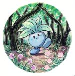blush_stickers commentary creature creatures_(company) english_commentary flower full_body game_freak gen_1_pokemon grass highres nintendo oddish oliver_hamlin outdoors plant pokemon pokemon_(creature) signature smile solo standing standing_on_one_leg