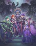 1girl 4boys black_dress blue_eyes breasts circlet cleavage cloak demon dress dual_persona faulds frown full_body gauntlets geshtar_(seiken_densetsu) glowing glowing_eyes greaves green_hair haccan headwear_removed helmet helmet_removed highres horned_headwear horned_helmet long_hair medium_breasts multiple_boys official_art orange_hair pauldrons phanna pink_hair planted_sword planted_weapon plate_armor pointy_ears pointy_shoes red_eyes seiken_densetsu seiken_densetsu_2 sheex_(seiken_densetsu) shoes skull_mask speeder_bike spiked_armor square_enix sword thanatos_(seiken_densetsu) throne transformation vandole weapon zweihander