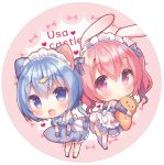 2girls :d animal_ears bangs blue_dress blue_eyes blue_hair blue_legwear blush bunny_girl bunny_tail cat_ears cat_girl cat_tail cherry_blossoms chibi closed_mouth dress eyebrows_visible_through_hair fang fish_hair_ornament hair_between_eyes hair_ornament heart long_hair maid_headdress multiple_girls object_hug onka open_mouth original pleated_dress rabbit_ears red_eyes redhead sakura_(usashiro_mani) smile socks standing stuffed_animal stuffed_carrot stuffed_fish stuffed_toy tail thigh-highs usashiro_mani white_legwear