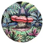 closed_mouth commentary creature creatures_(company) english_commentary full_body game_freak gen_1_pokemon grass highres nintendo oliver_hamlin plant pokemon pokemon_(creature) signature sitting_on_ground smile solo tree vileplume