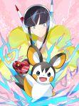 1girl bangs black_hair blue_eyes blunt_bangs box creatures_(company) electricity emolga game_freak gen_5_pokemon gym_leader headphones heart heart-shaped_box highres kamitsure_(pokemon) long_hair nintendo otsumami_(bu-bu-heaven) pink_background pokemon pokemon_(creature) pokemon_(game) pokemon_bw2