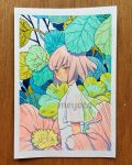 1girl artist_name bangs eyebrows_visible_through_hair eyes_visible_through_hair flower green_eyes highres leaf looking_at_viewer meyoco original photo pink_flower pink_hair plant short_hair short_sleeves solo traditional_media upper_body