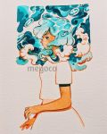 1girl artist_name blue_eyes blue_hair breasts bubble highres inktober meyoco original photo profile shirt short_hair short_sleeves solo traditional_media upper_body waves white_background white_shirt