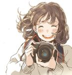 1girl :d ^_^ adjusting_camera bangs beige_shirt blush brown_hair camera closed_eyes closed_eyes commentary_request facing_viewer highres holding holding_camera kana_(okitasougo222) long_sleeves open_mouth original short_hair smile solo sweatshirt upper_body white_background