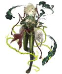 1boy ahoge asymmetrical_bangs bagpipes bangs chains cropped_jacket frown full_body green_eyes green_hair hair_ornament hairclip instrument instrument_on_back ji_no leaf looking_at_viewer music ocarina official_art pants pinocchio_(sinoalice) playing_instrument sash sinoalice smoke solo stitched_mouth stitches transparent_background